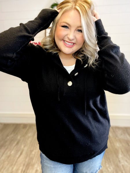 Hooded Sweater Henley Multiple Colors (Sizes S-3XL)