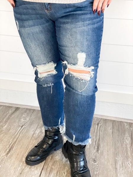 Risen High Waist Dark Distressed Straight Jean (Size 1-3XL)
