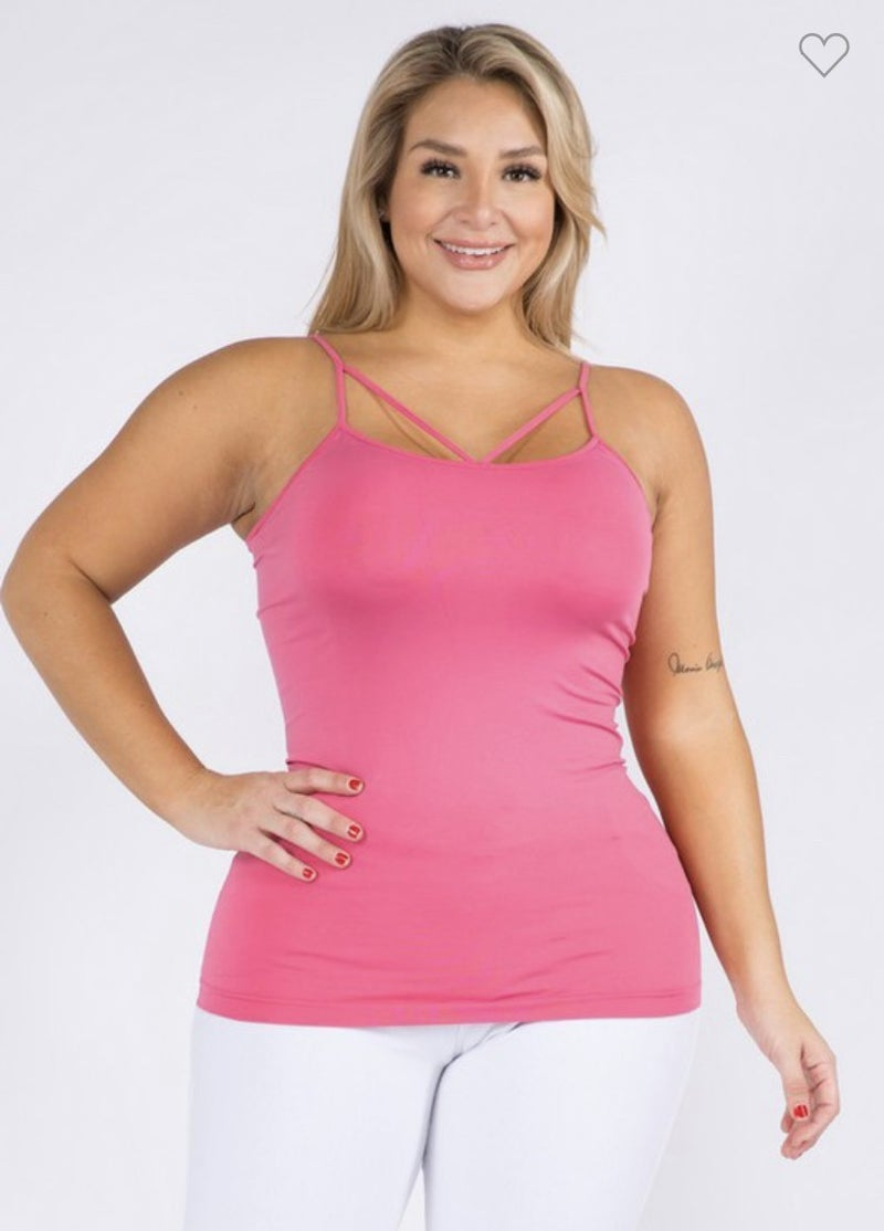 Seamless Criss Cross Cami Multiple Colors (Sizes One Size-Plus Size)