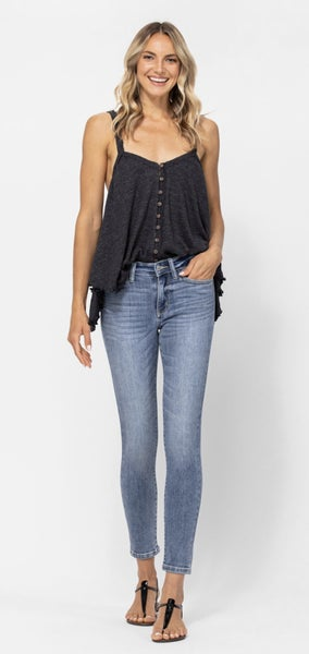 Judy Blue Mid Rise Skinny Cropped (3-20)