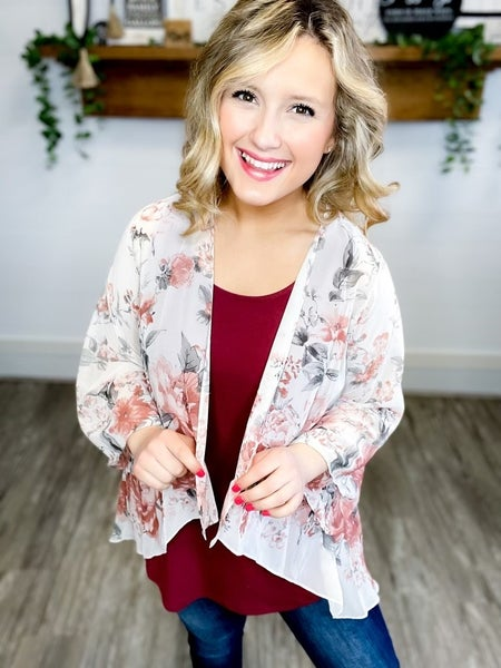 Rustic Floral Woven Cardi (Sizes S-L)