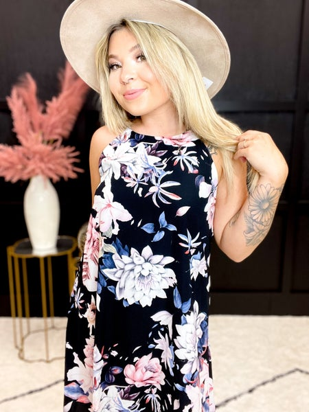 Floral Print Lined Shift Dress (Sizes  S-2XL)