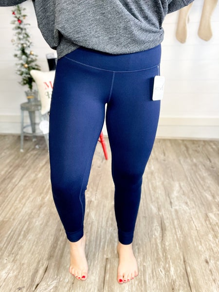 Solid Navy Peach Skin Leggings (Fits Sizes 2-24)