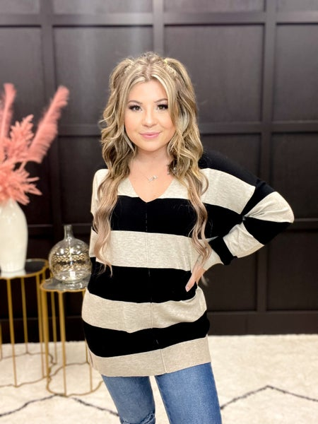 Any Occasion Striped V-Neck Sweater Multiple Colors (S-3XL)