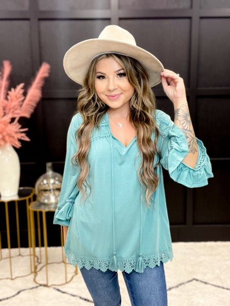 Bell Sleeve Lace Trim Ruffle Top (Sizes S-3X) *Final Sale*