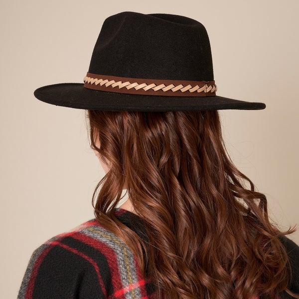 Braided Leather Strap Panama Hat