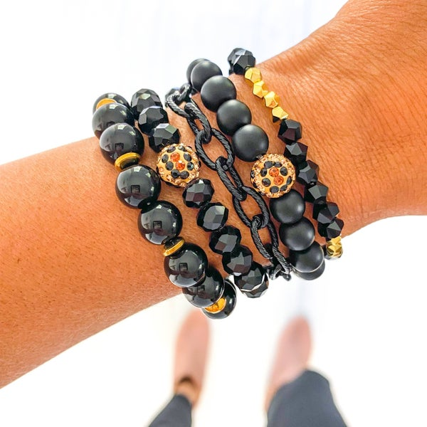 Ebony Beaded Bracelet Stack - **5 Bracelets**