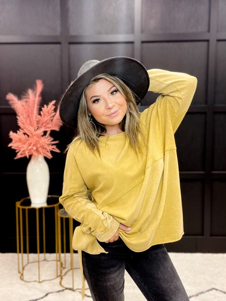 Mustard Terry Knit Upside Down Long Sleeve Top (S-L)