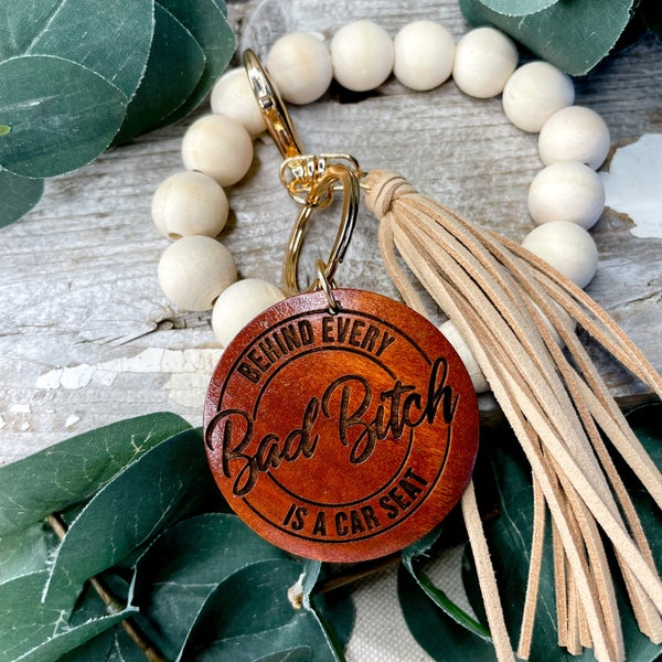 Behind Every Bad B is A Car Seat Beaded Key Chain Bracelet