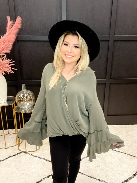 Detailed Ruffle Sleeve Surplice Top Multiple Colors (Sizes S-L)