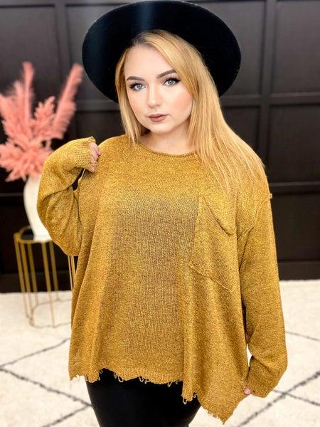Mustard Light Knit Sweater (1XL-3XL)