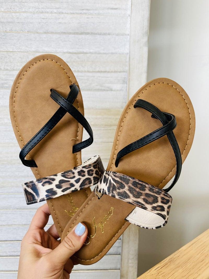 The Sarah Black Leopard Sandal