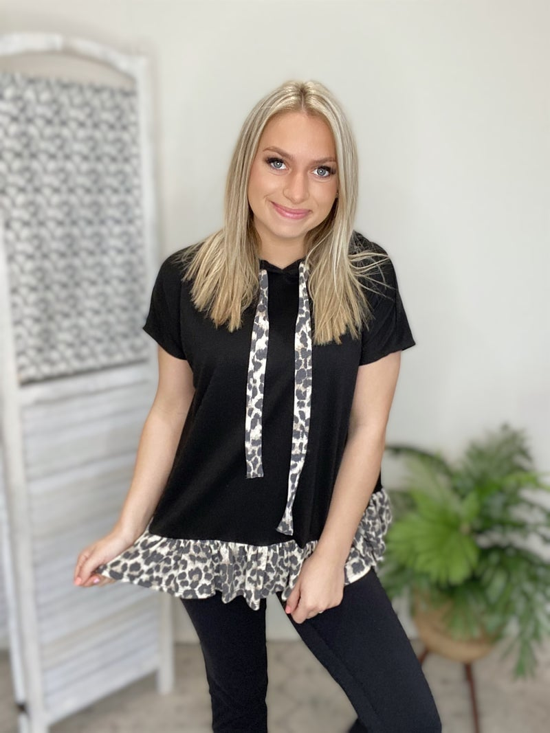 Rocking The Cheetah Top- Black