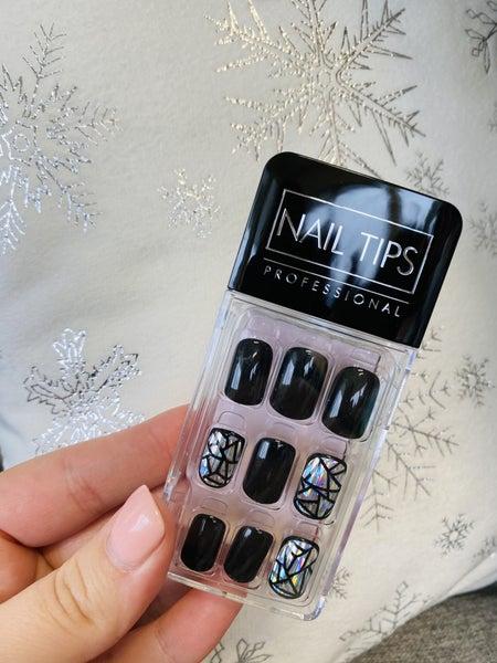 Black & Hologram Stripes Press On Nails