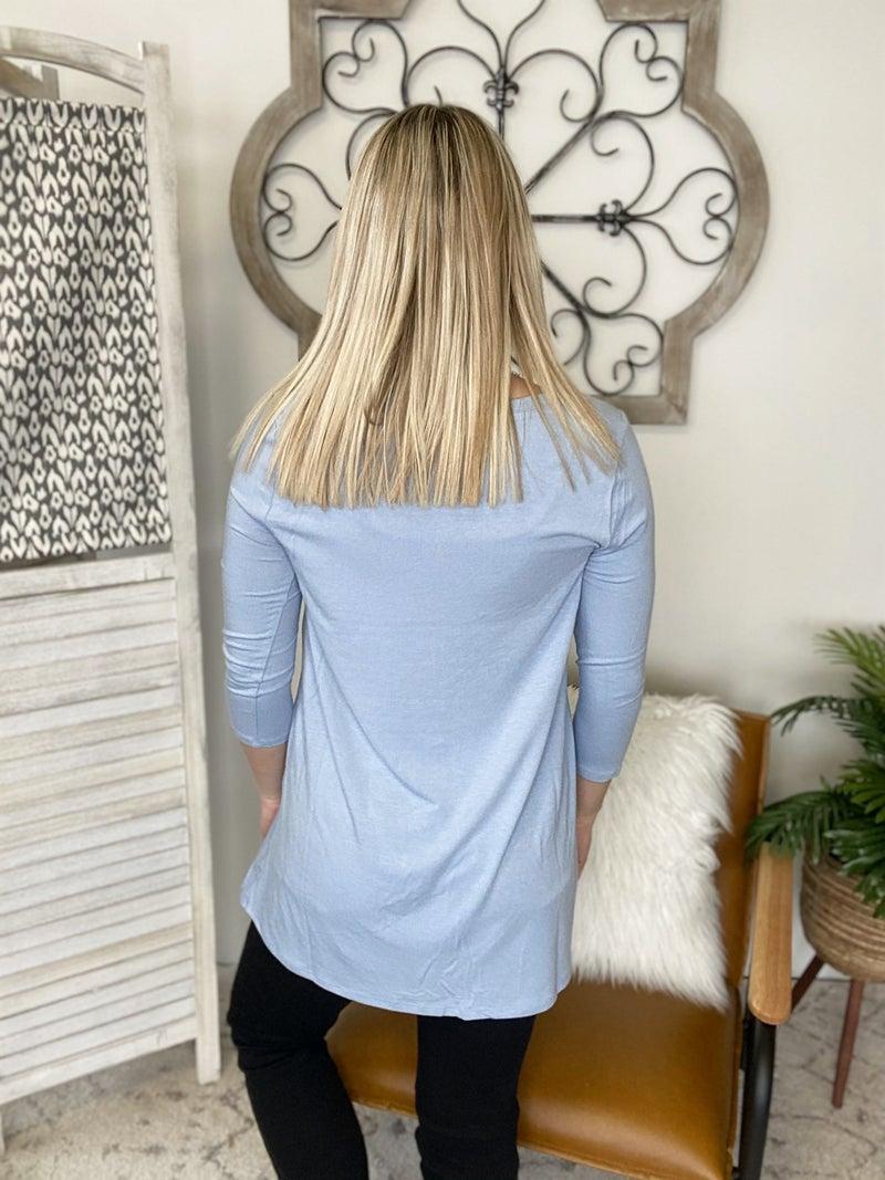 Simple Look Top- Ash Blue