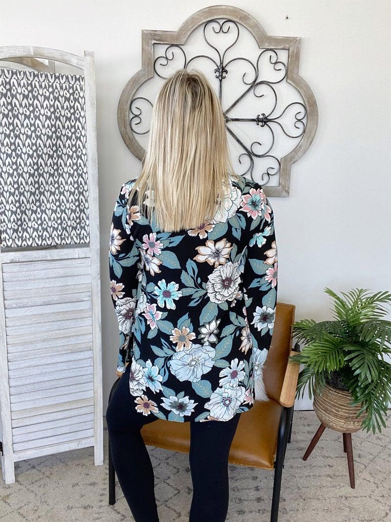 Floral With Tie Top- Black