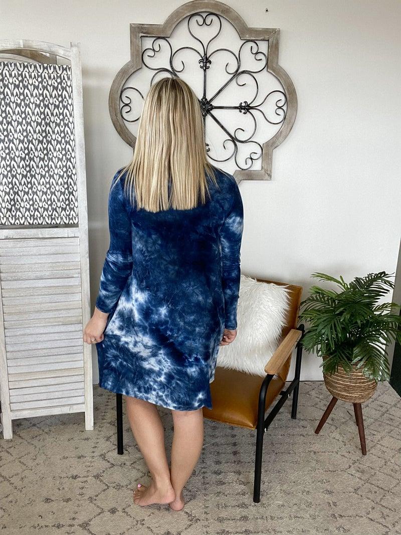 Fancy Dinner Date Dress- Deep Blue