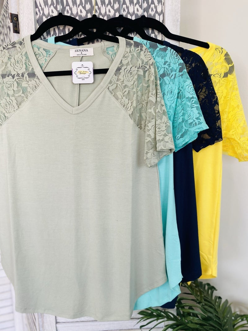 Rocking The Lacey Look Top~4 Colors