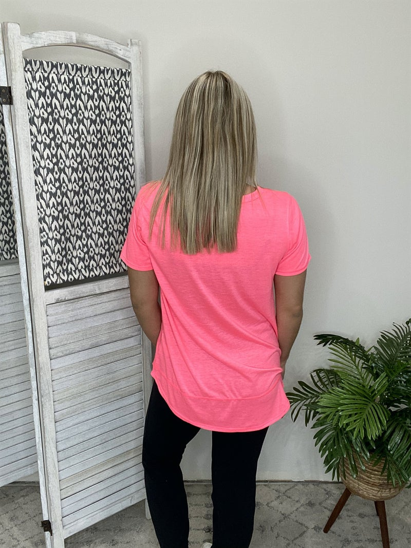 Going From Here Top- Neon Pink