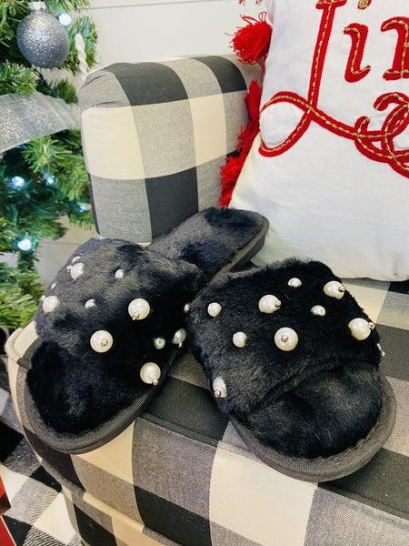 Fuzzy Pearl Open Toe Slippers ~ Black