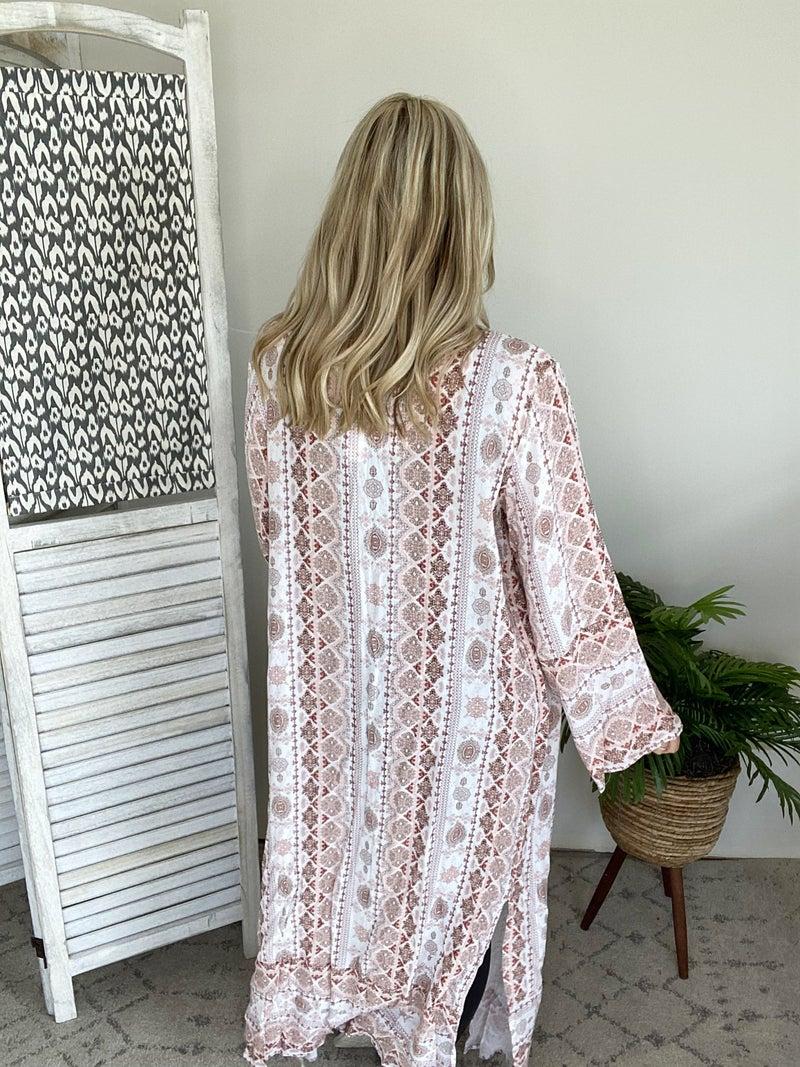 Hot Summer Day Vibes Kimono- Marsala