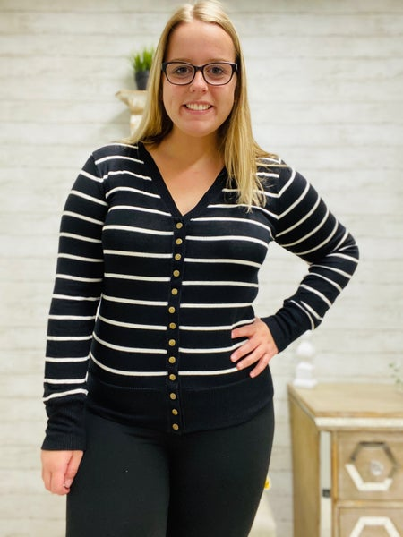Wear Me with Anything Cardigan ~ Black & Ivory