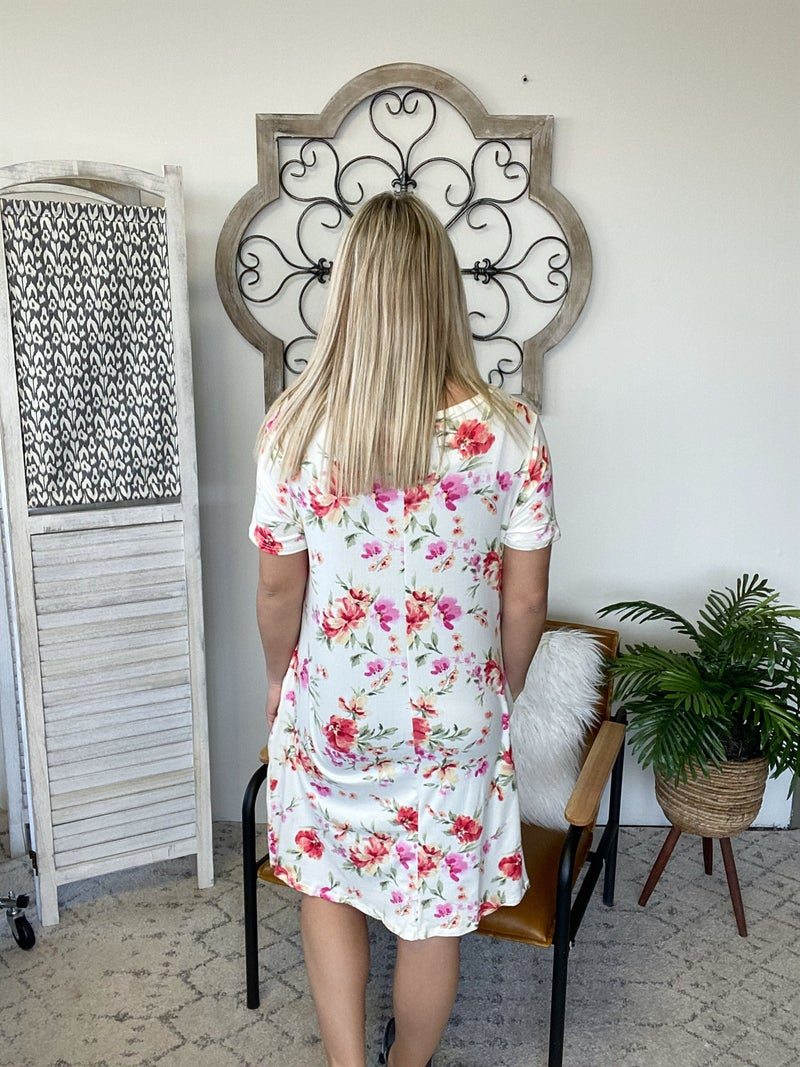 Happening Now Floral Dress- Ivory