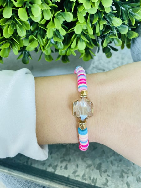 Perfect Pink Crystal Heishi Bracelet