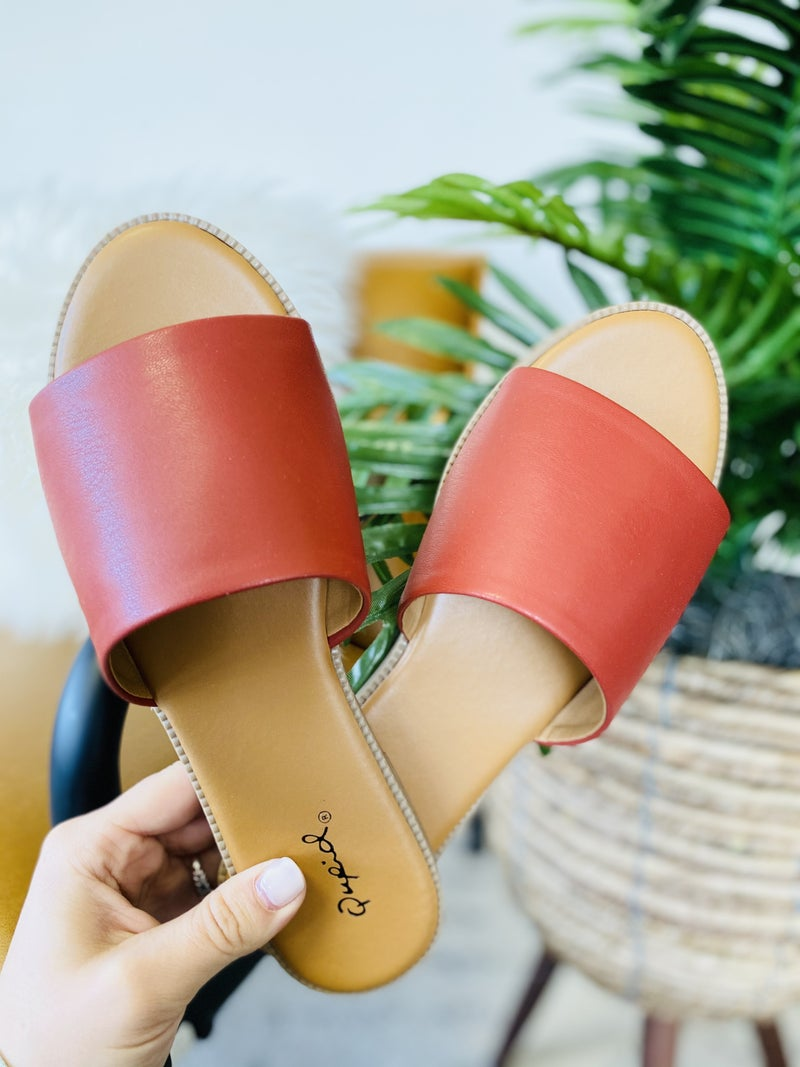 Take Me On Vacay Sandals- Brick