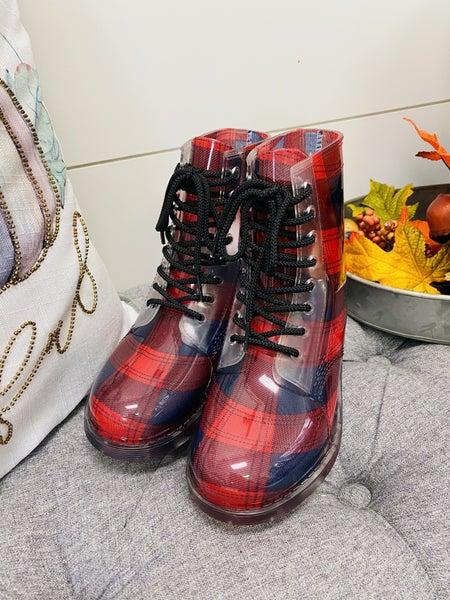Plaid Lace-Up Rain boots