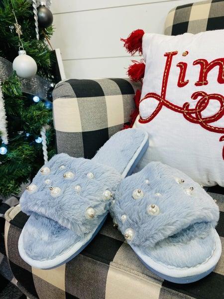 Fuzzy Pearl Open Toe Slippers ~ Blue