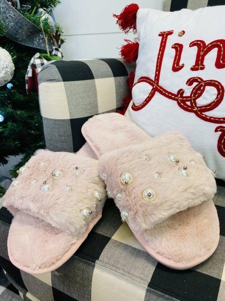 Fuzzy Pearl Open Toe Slippers ~ Pink