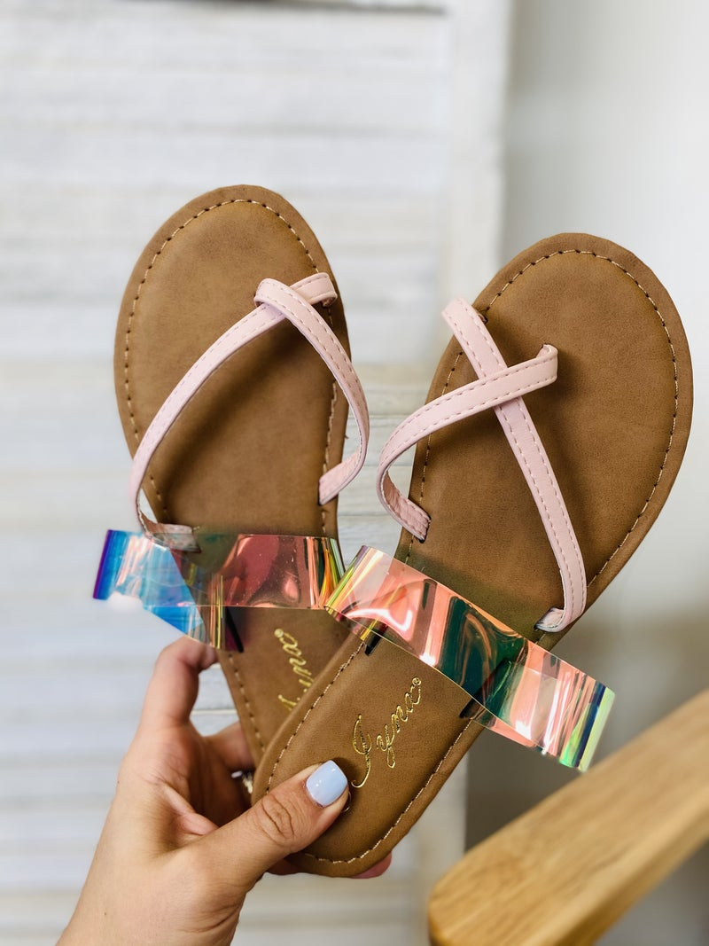 The Sarah Pink Holo Sandal