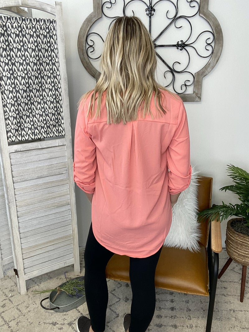 Dressing Nice Top- Deep Coral
