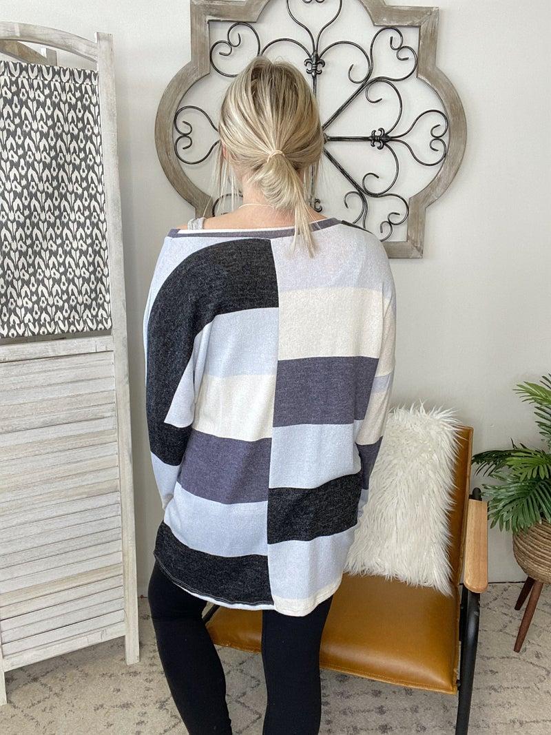 Stripe Pocket Top- Blue