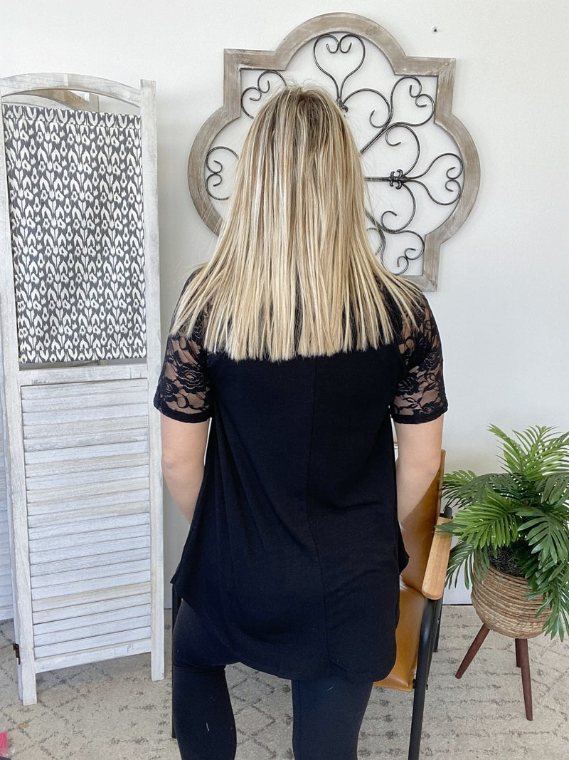 Lacy Days Top- Black