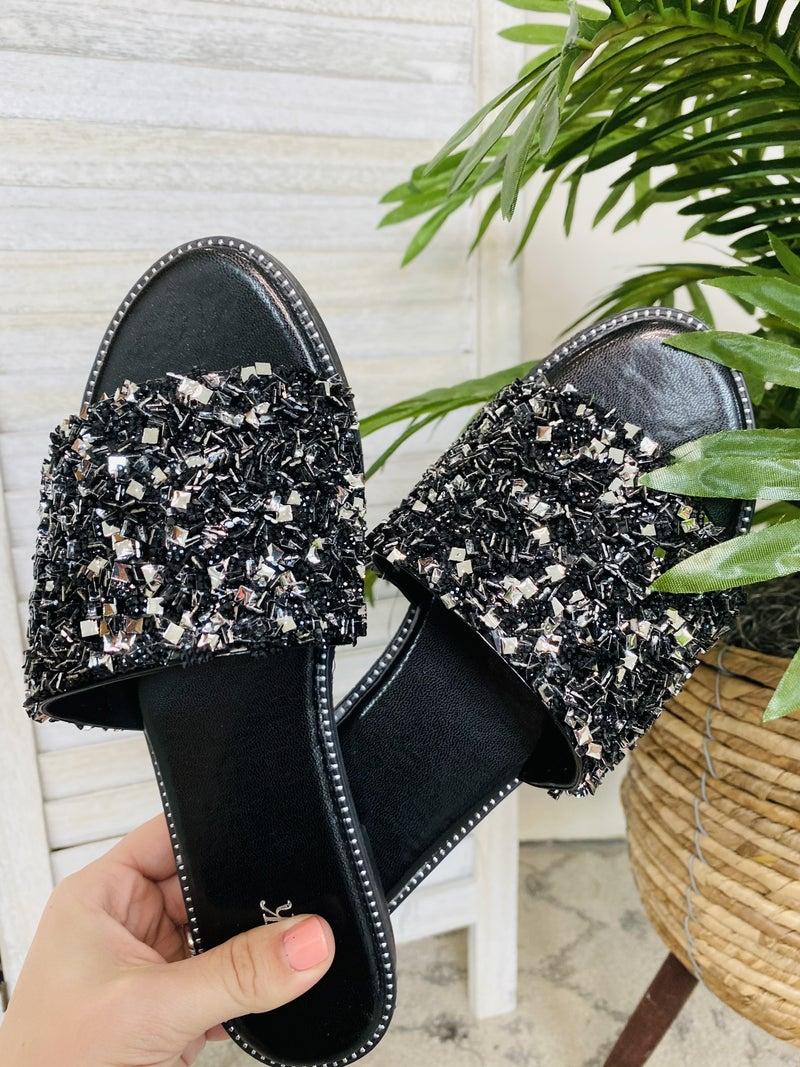 Glitter All Day Black Sandal