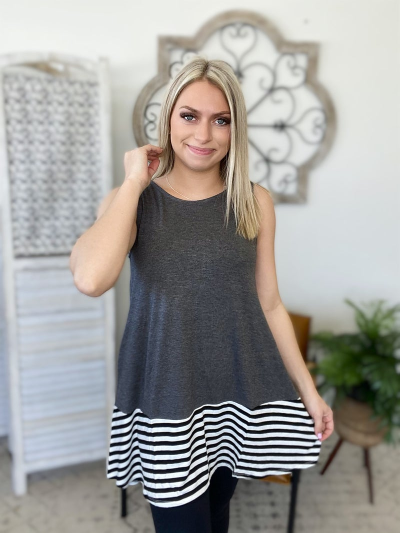 Beach Day Tank Top- Charcoal