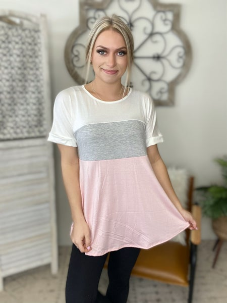 Add This To My Cart Top- Grey Pink