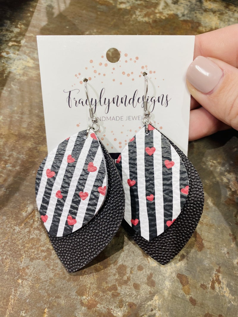 Leather Stripes and Heart Earrings