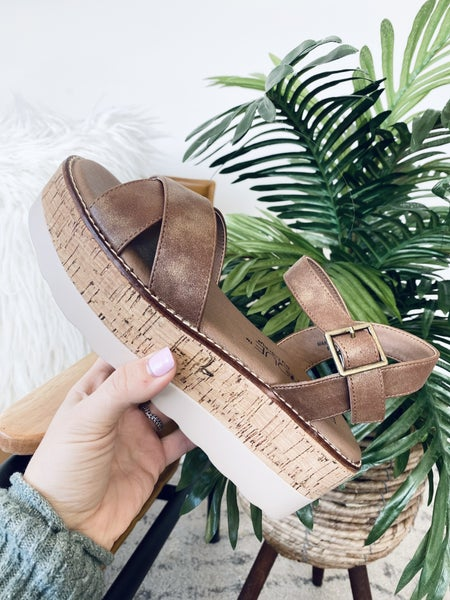 Corky Fluffie Brown Wedge