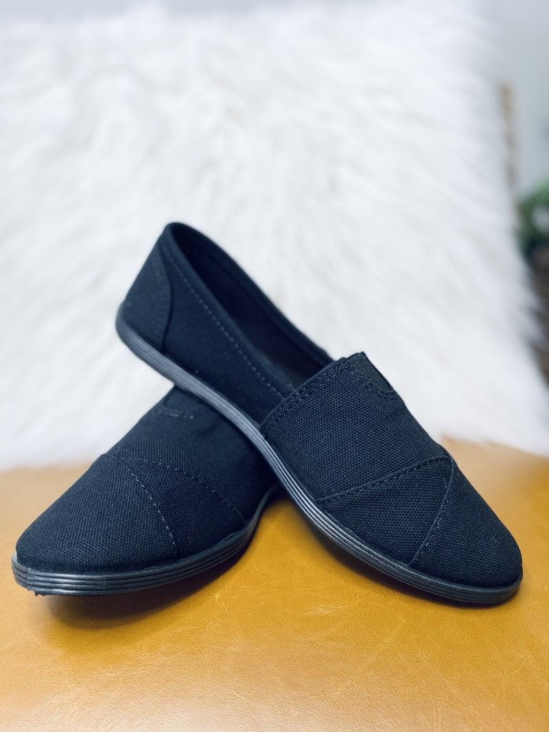 Slip On And Go Flats- Black/ Black