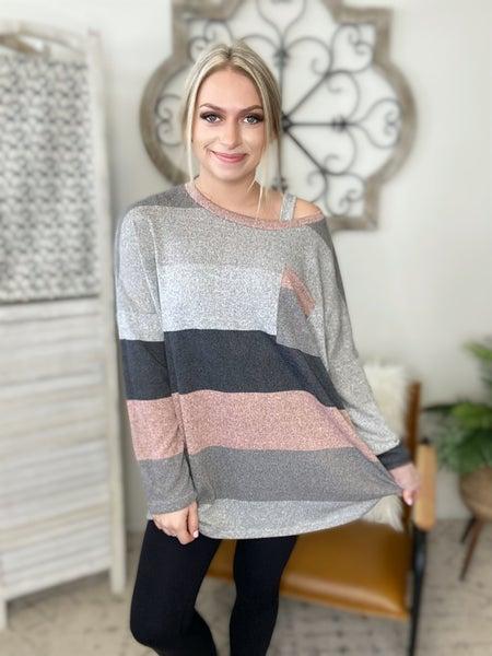 Stripe Pocket Top- Pink