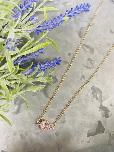 Daily Druzy Necklace- Rose Gold