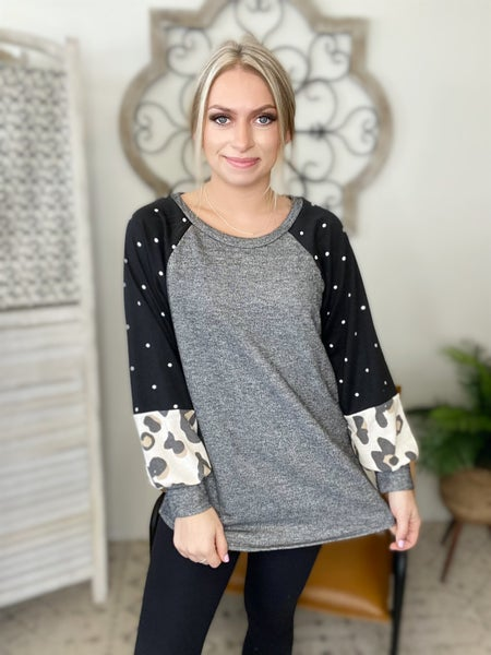Mix Of Leopard and Polka Dot Top- Black