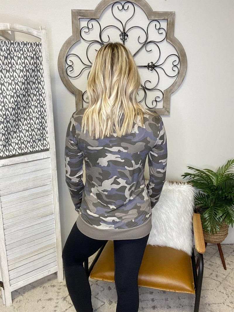 Snap Out Of It Cardigan- Dusty Camo