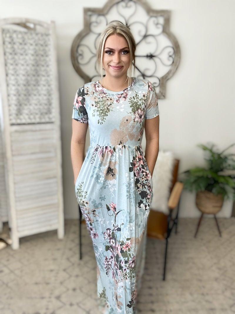 Flattering Sage Floral Dress
