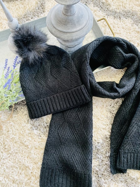Knitted Beanie & Matching Scarf Set ~ Black
