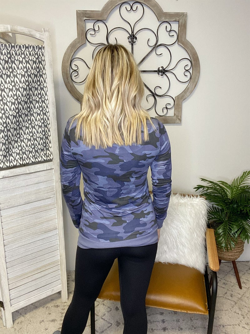 Snap Out Of It Cardigan- Navy Camo