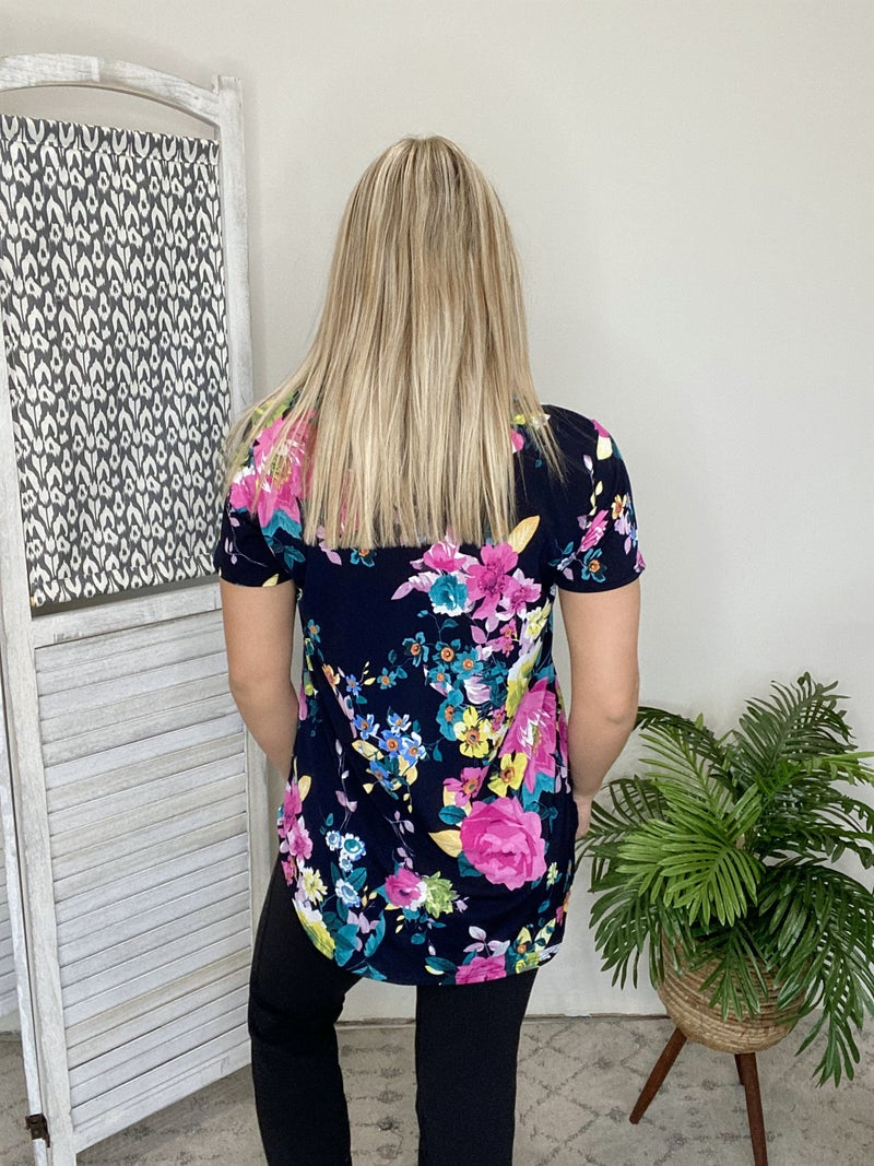 Lost It For Good Top- Navy/ Fuchsia